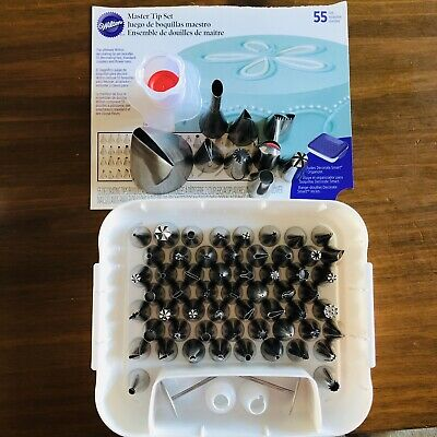 Wilton Master Tip Set Total 63 + Couplers Flower Nails Cupcake Corer Icing Bags