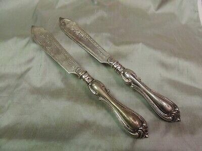 "Lot of 2 Vintage WMFN Silver Plated Knives Knife 7 7/8"" W/Ornate Etched Blades"