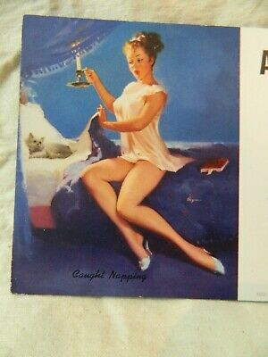 Pinup Girl Swanson-Nunn Electric Advertising  BROWN & BIGELOW Caught Napping
