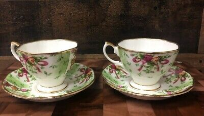 2 Royal Albert Old Country Roses Ruby Celebration Green Damask Tea Cup & Saucer