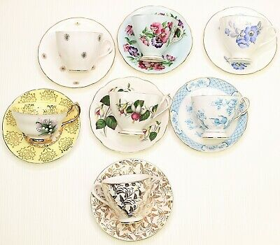 Lot Of 7 Vintage Tea Cups With Matching Saucers Princess Anne English Castle