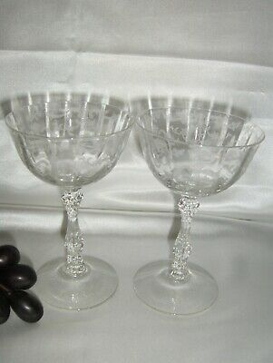 """Fostoria NAVARRE CLEAR, Optic Bowl Etched Champagne/Sherbet Glass, 5 3/4"""""""