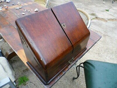 Victorian Oak Slope Front Writing Correspondence - Stationary Box