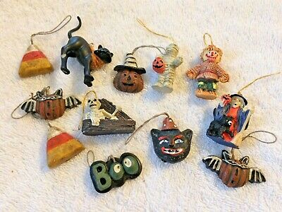 12 Mini Halloween Ornaments- Scarecrow Bat Witch Cat Mummy Skeleton Candy Corn