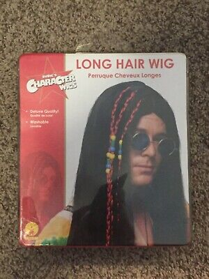 1960S 70S LONG BLACK HAIR WIG GROOVY HIPPIE ADULT MEN MALE COSTUME WIG BRAID