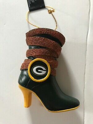 GREEN BAY PACKERS Christmas Tree Ornament Boot Shoe NFL Football Holiday NEW