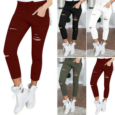 Girls Pants Ladies Summer Trousers Pants Fashion High waist Bottoms Solid Ripped