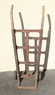 """Antique Industrial Wood And Metal Hand Cart Dolly Truck Wooden Painted Red 47"""""""