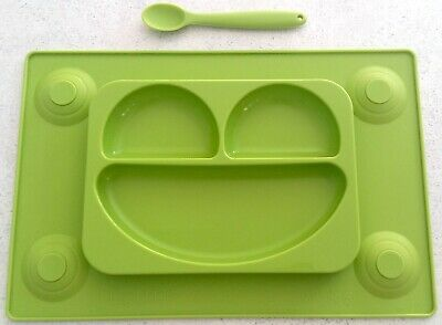 EasyMat Silicone Suction Baby Food Plate Mat Tray with Spoon No mess Kids eating