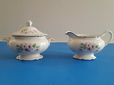 Homer Laughlin Virginia Rose Creamer And Sugar Bowl Set M54N8 & K56N8