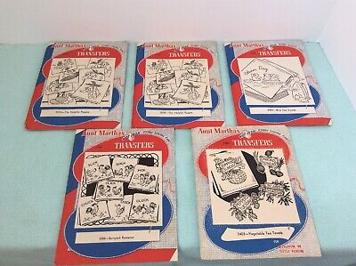 Lot Of 5 Packages Of Vintage Aunt Martha's Hot Iron Transfers