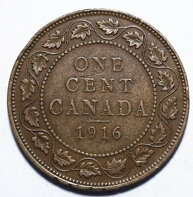 "1916 Canada One 1 Cent - George V with ""DEI GRA"""