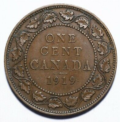 "1919 Canada One 1 Cent - George V with ""DEI GRA"""