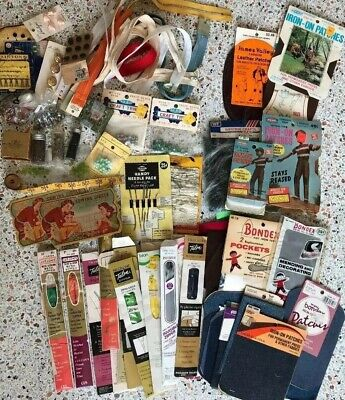 Huge Lot of Vintage Sewing Notions Metal Zippers Glass Beads Buttons Patches