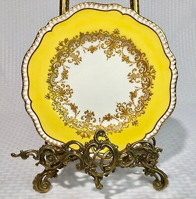 ANTIQUE SPODE COPELAND FOR TIFFANY Co YELLOW HEAVY GOLD SCALLOPED DINNER PLATE 1