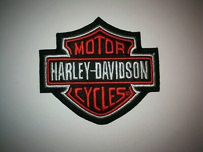Harley Davidson Classic Orange Logo Patch Sew Iron On Motorcycle Shield Bike NEW