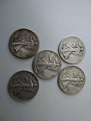 Walking Liberty Silver Half Dollars Lot Of 5 Coins. 1933-S, 1941-D, 44-D, 45,46S
