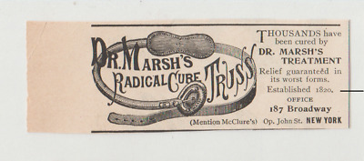 1896 Dr Marsh's Radical Cure Truss Ad, Quack Medicine? 187 Broadway NY