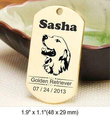Stainless Steel Pet ID Tags Custom Double Side Engraved Dog Cat Gold Name Tag