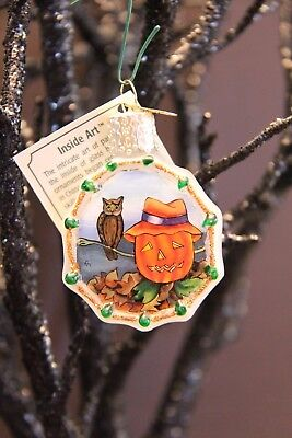 *Inside Art - Pumpkin with Owl* Ghost Old World Christmas Glass Ornament - NEW
