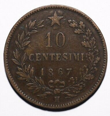 1867 Italy Ten 10 Centesimi - Vittorio Emanuele II - Lot 463