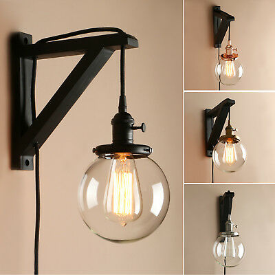 Retro Industrial Clear Glass Lamp Shade Plug In Wall Sconce Wooden Bracket Light