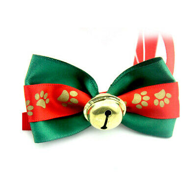 Pet Dog Kitten Collar Necktie Bowtie Adjustable With Bell Xmas Grooming Fashion