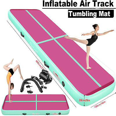 3m 4m 5m 6m Inflatable Air Track Floor Home Gymnastics Tumbling Mat with Pump UK