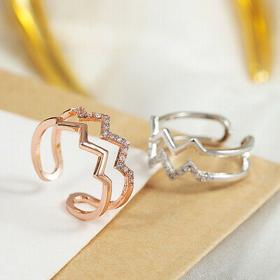 Women Ring Trend Jewelry Party Gifts Fashion Finger Ring Adjustable Wave Zircon