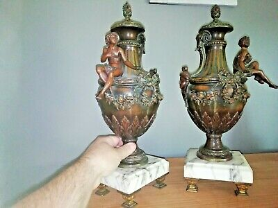 Antique Superb pair of French patinated bronze vases on marble. Jugeudstil 1900'