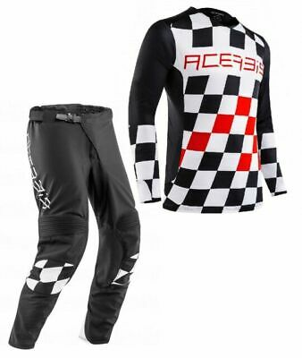 Maglia Pantaloni Cross Enduro Acerbis Start & Finish Nero Rosso Red Xl-34