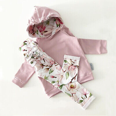 Newborn Infant Baby Girl Hoodies Top Sweatshirt Long Pants Floral Outfit Clothes