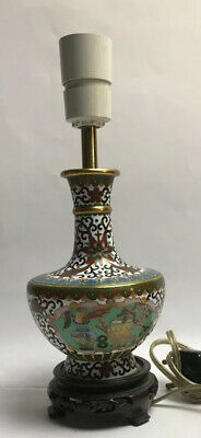 Beautiful Cloisonné Vase Converted Into A Lamp Decorated With Vases Flowers Frui