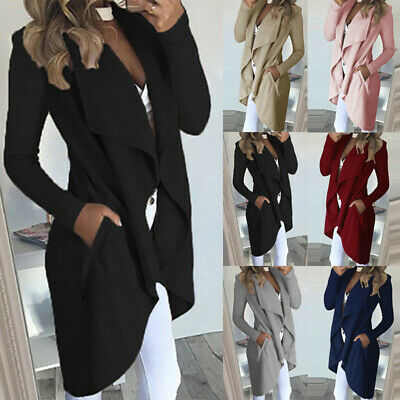 UK Womens Waterfall Cardigan Ladies Slim Fit Long Sleeve Blazer Coat Jacket Tops
