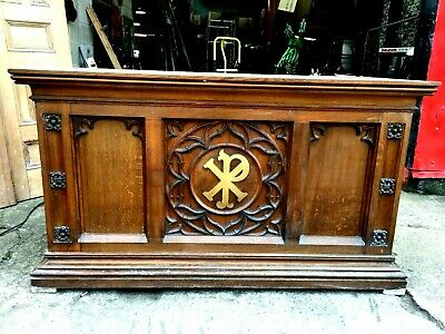 Large Antique Carved Oak Church Alter Table Chapel Furniture West Yorkshire