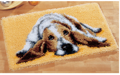 Lazy dog Printed Canvas Latch Hook Rug Kit - Rug Making - Everything included