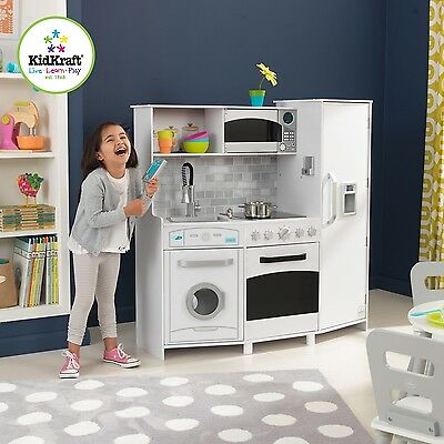 Kidkraft White Large Play Kitchen with Lights and Sounds 53369 | Kids Wooden
