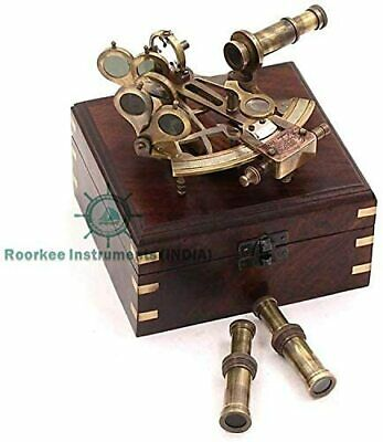 Collectible Antique Nautical Brass Astrolabe German Marine Sextant w/ Wooden Box