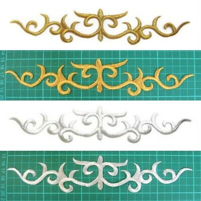 Gold Silver Applique Iron On Embroidery Trim for Ballet Dance Stage Costume #11