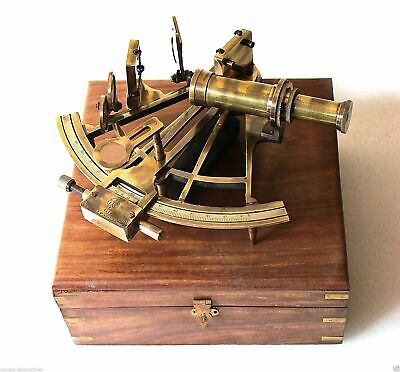 Nautical Maritime Antique Brass Sextant Vintage Marine Ship Instruments With Box