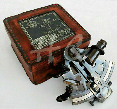 Nautical Maritime Victorian Travelling Brass Sextant with Glass Top Leather Case