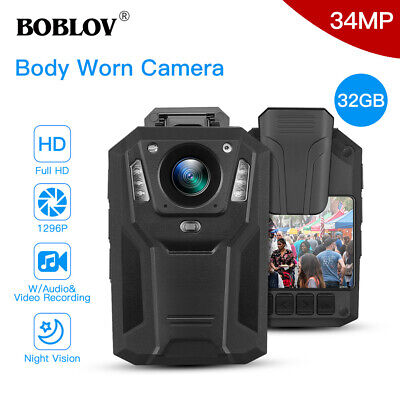 BOBLOV 1296P Body Mounted Camera 32GB IR Night Vision Wearable for Guard Police