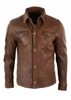 Men's Shirt Jacket Brown Real Soft Premium Genuine Waxed Leather Shirt