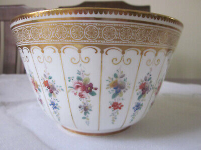 Stunning Antique Hand Painted Tiny Flowers And Gilt Deep Bowl