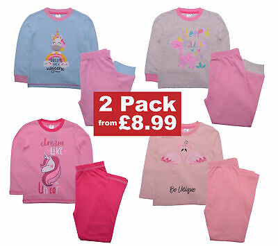 Girls 2 Pack Pyjamas Nightwear Unicorn Flamingo Design 100% Cotton Pjs 2-11 Yrs