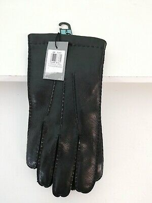 John Lewis Mens Leather Gloves Medium / Large Wool Lined Brand New with Tags