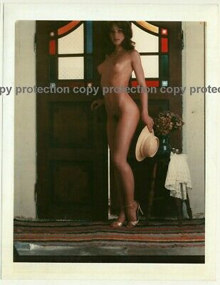 Stunning Sporty Natural Nude Country Lady / Hat - ABS (Vintage Large Polaroid 19