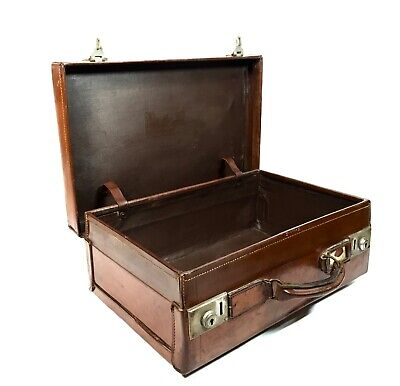 Antique Leather Gentleman's Travel Bag / Suitcase /  High Quality / c.1910