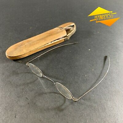 VINTAGE c.1920's WOODEN-CASED FINE SPECTACLES GLASSES SILVER? FRAME JEWELLERY