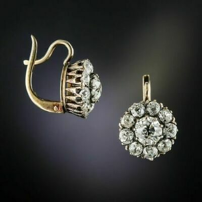 Vintage Art Deco 2.16Ct Diamond Halo Earrings 1920's In 14K Yellow Gold Over